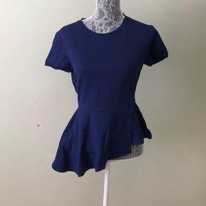 BCBG blue short sleeve peplum top